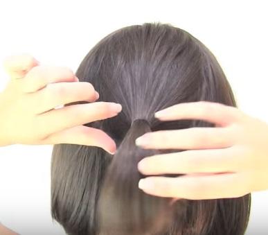 Причёска из шести жгутиков на короткие волосы - Шаг 1