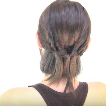 Причёска из шести жгутиков на короткие волосы