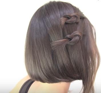 Причёска с узелками для коротких волос - Шаг 4