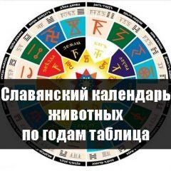 Славянский календарь животных по годам таблица