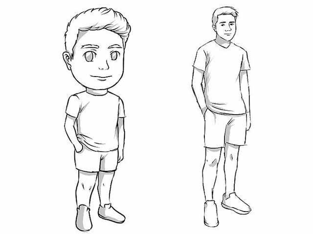 Как нарисовать реального человека и мультяшного человечка