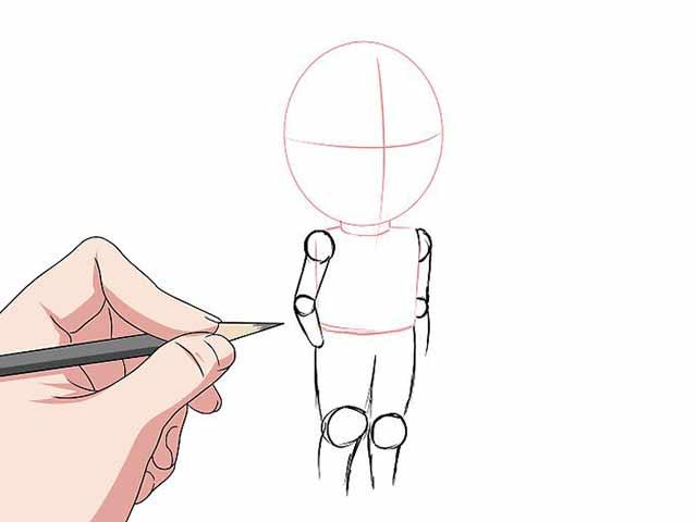Как нарисовать мультяшного человечка - Нарисуйте цилиндры для рук и ног, а также круги для коленей и локтей.