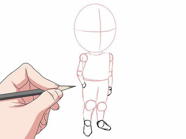 Как нарисовать мультяшного человечка - Обведите контуры рук и ног.
