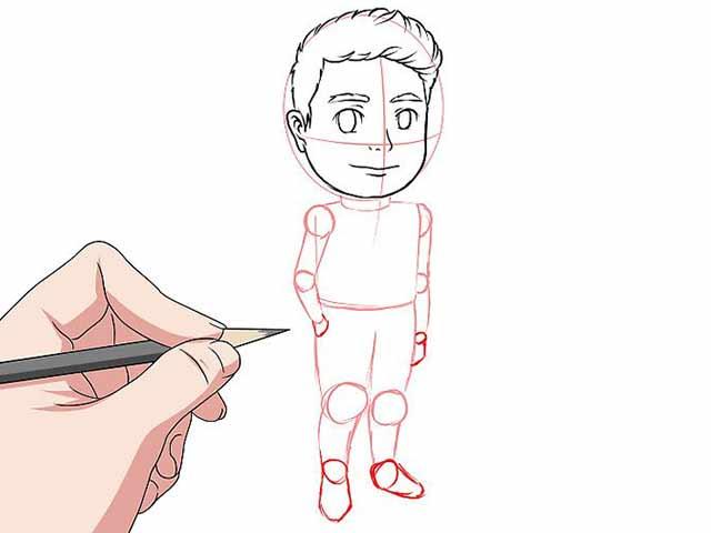 Как нарисовать мультяшного человечка - Нарисуйте лицо и волосы.