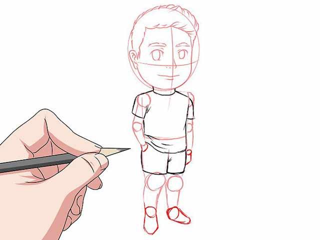 Как нарисовать мультяшного человечка - Нарисуйте одежду на теле мультяшного человека.