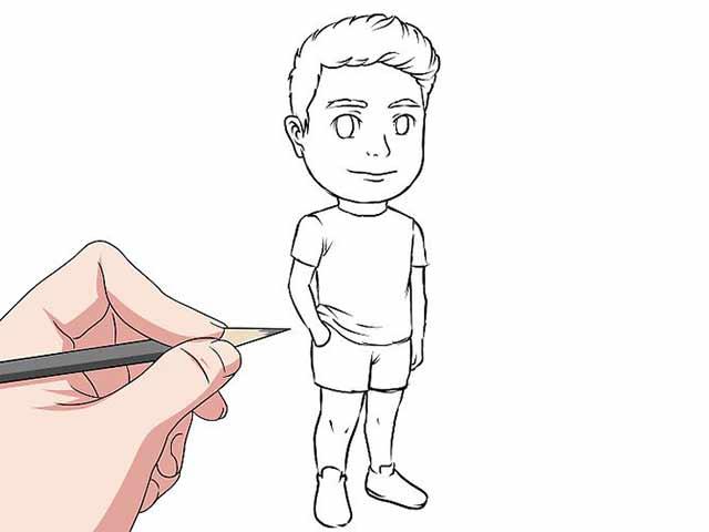 Как нарисовать мультяшного человечка - Сгладьте линии на вашем эскизе и удалите всё не нужное.