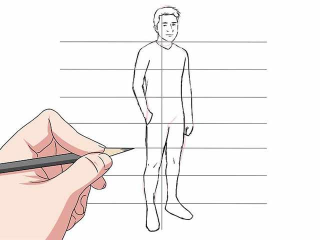 Как нарисовать человека - Соедините и уточните очертания различных частей тела.