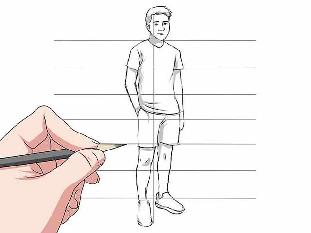 Как нарисовать человека - Удалите ненужные линии и добавьте тени на вашем рисунке.