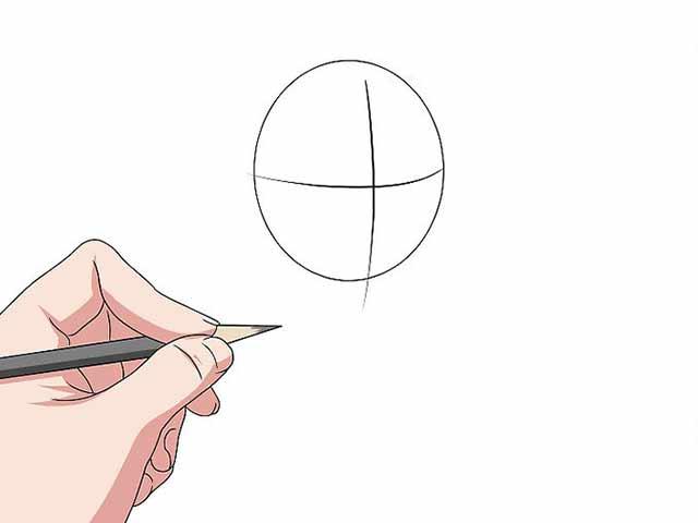 Как нарисовать мультяшного человечка - Нарисуйте овал и разделите его на 4 равных части.