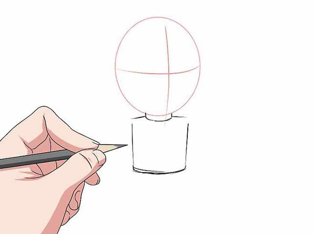 Как нарисовать мультяшного человечка - Нарисуйте цилиндр для шеи и прямоугольник для туловища.