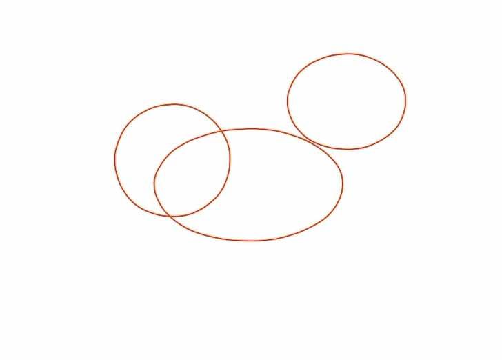 Как нарисовать мультяшного единорога карандашом - Нарисуйте два горизонтальных овала и круг.