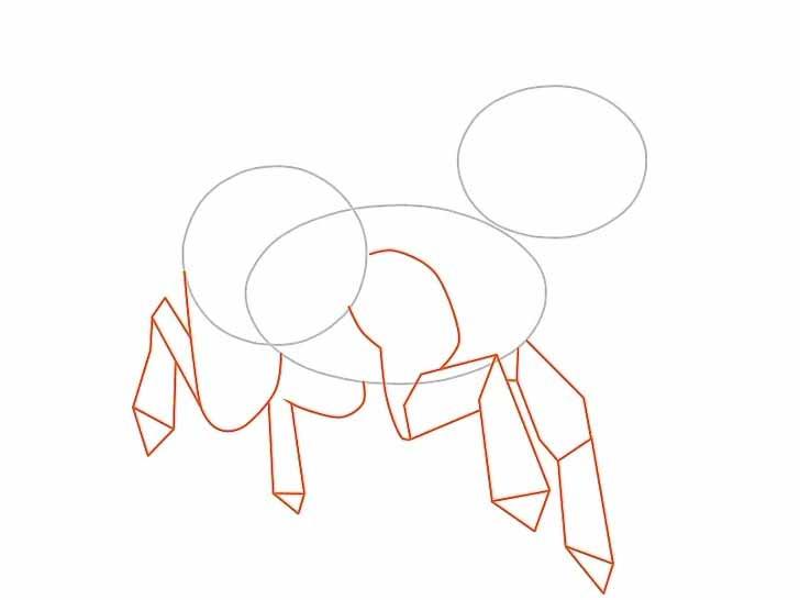 Нарисуйте единорогу четыре ноги и копыта используя прямые и кривые линии.