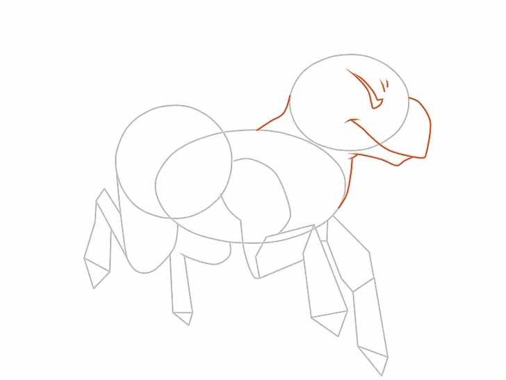 Используйте кривые линии, чтобы соединить верхний овал(голову единорога) с телом