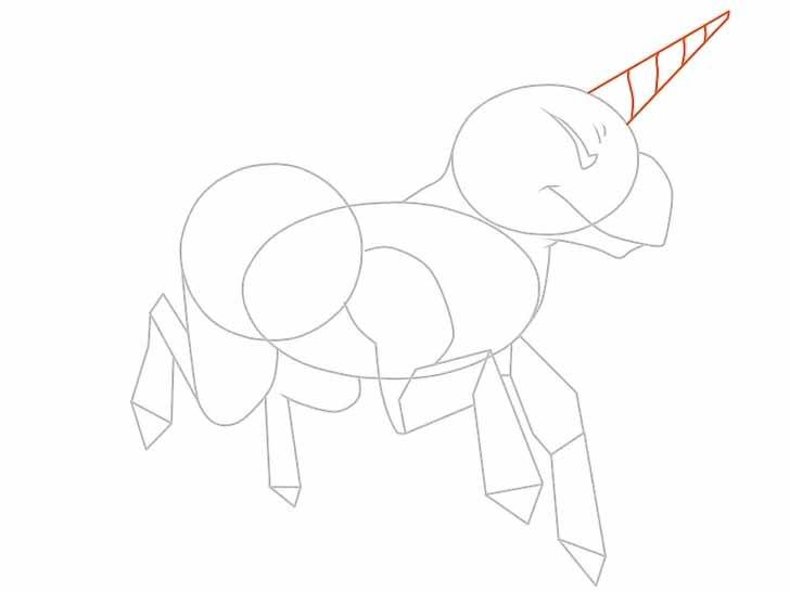 Как нарисовать мультяшного единорога карандашом - Прорисуйте рог на голове единорога более детально, добавьте спирали.