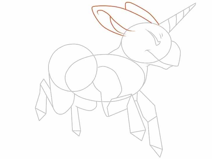 Как нарисовать мультяшного единорога карандашом - нарисуйте мультяшному единорогу ушки.