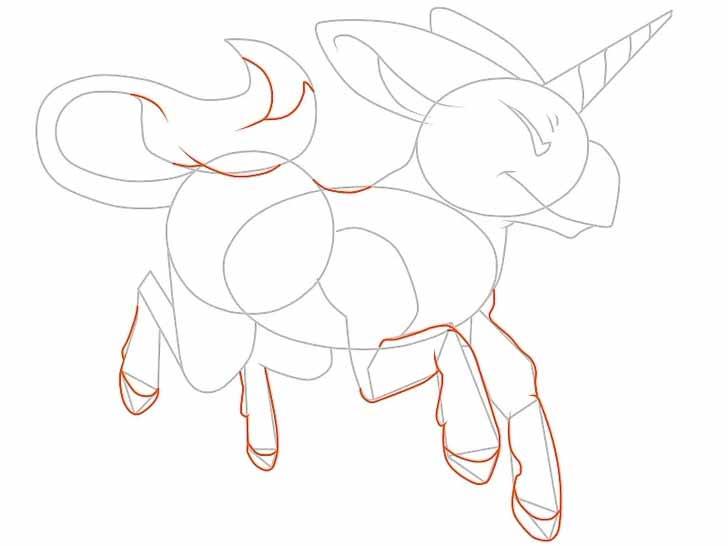 Как нарисовать мультяшного единорога карандашом - прорисуйте эскизы ног, копыт и хвоста.