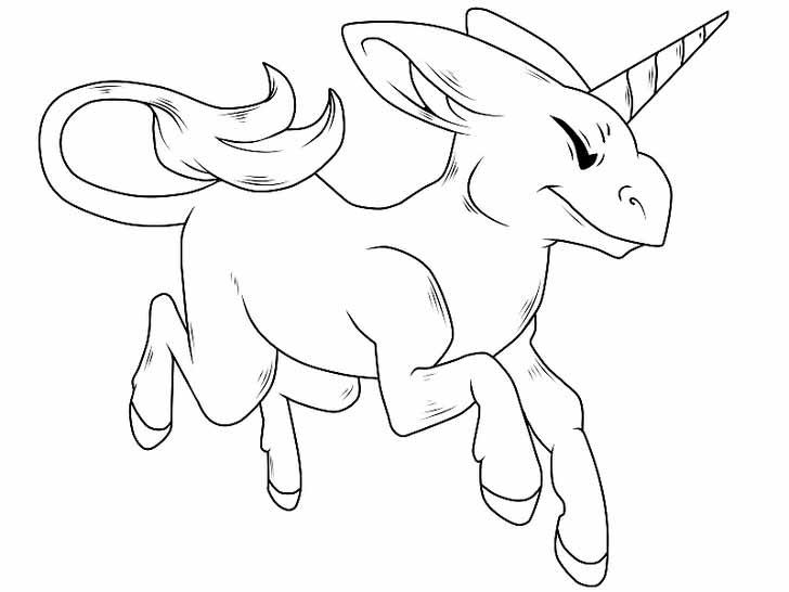 Как нарисовать мультяшного единорога карандашом - Обведите мультяшного единорога по контуру и сотрите не нужные линии эскиза.