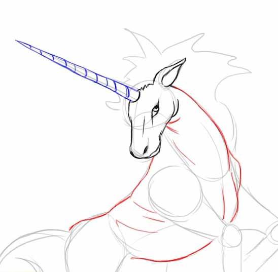Как нарисовать единорога карандашом - Нарисуй тело.