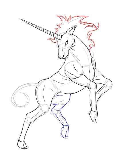 Как нарисовать единорога карандашом - Добавьте развивающуюся гриву.