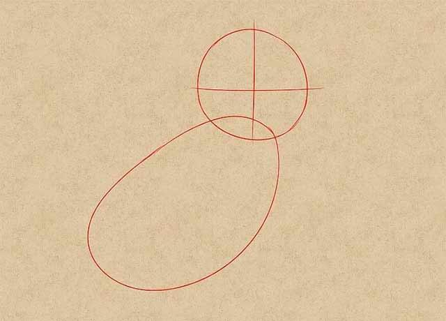 Как нарисовать кошку анимэ - Нарисуйте контур головы и тела.
