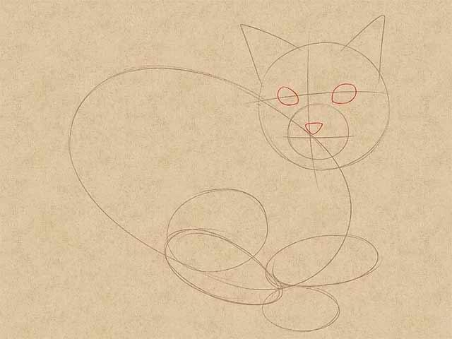 Как нарисовать лежачую кошку - Сделайте набросок лица.