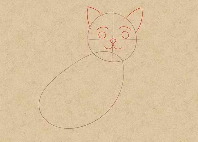 Как нарисовать кошку анимэ - Нарисуйте глаза двумя маленькими кружочками, нарисуйте нос и рот.