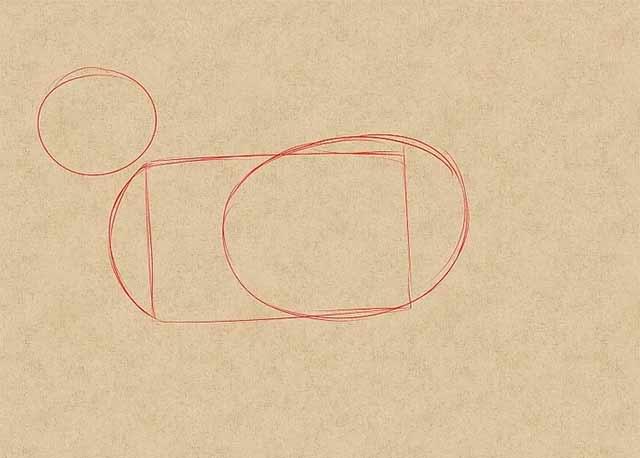 Как нарисовать кошку - Нарисуйте основные очертания фигуры.