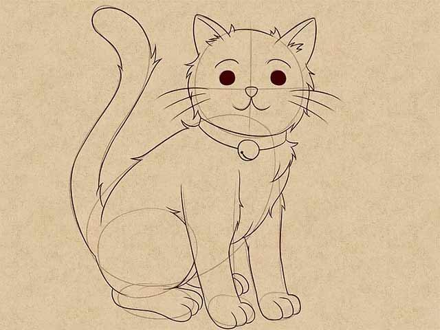 Как нарисовать кошку анимэ - Сделайте набросок всего тела целиком и добавьте несколько пушистых деталей.