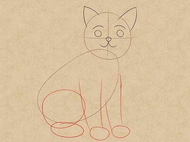 Как нарисовать кошку анимэ - Нарисуйте контур для кошачьих лапок.