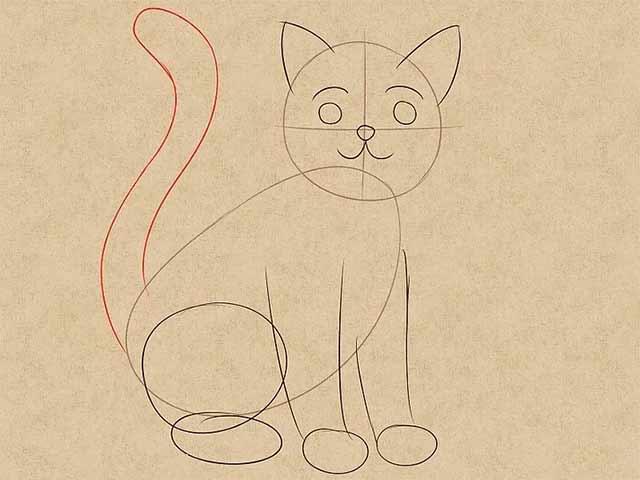 Как нарисовать кошку анимэ - Нарисуйте хвост, сделайте его длинным и изогнутым.