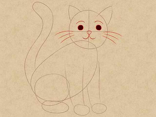 Как нарисовать кошку анимэ - Закрасьте глаза и добавьте усы.