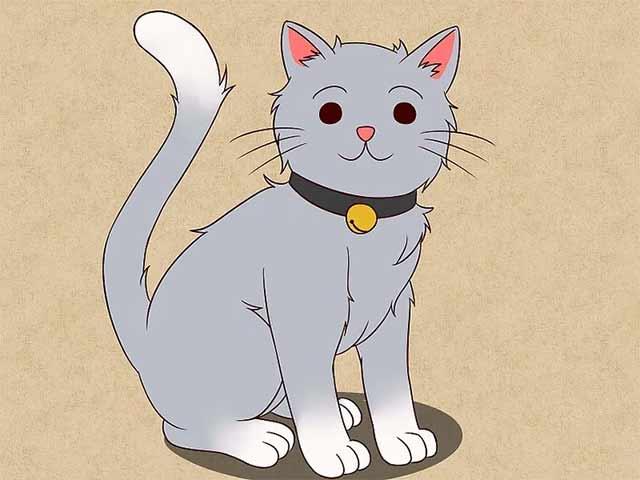 Как нарисовать кошку анимэ - Раскрасьте и ваша мультяшная-анимешная кошка готова!