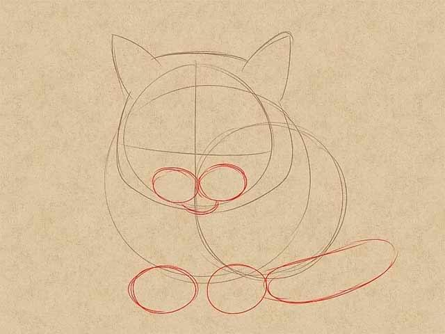 Как нарисовать лежачую кошку спереди - Добавьте два маленьких приплюснутых круга в нижней части головы