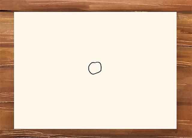 Нарисуйте маленький круг от руки в центре листа, это будет центр нашей розы.