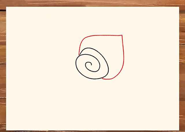 Как легко нарисовать розу - Вытяните лепесток на одной стороне спирали.