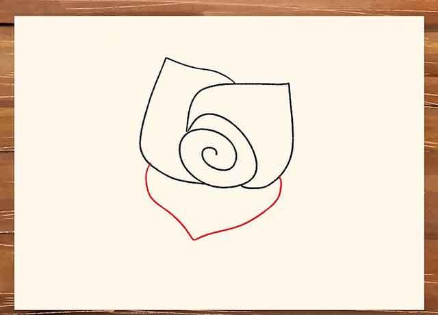 Как легко нарисовать розу - Нарисуйте третий лепесток в нижней части спирали