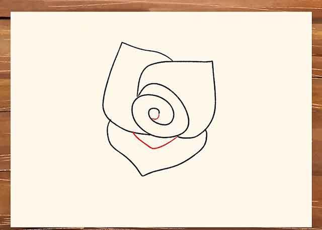 Как легко нарисовать розу - Добавьте небольшую деталь в центр спирали розы.