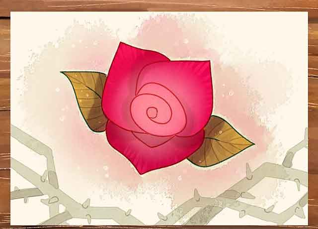 Как легко нарисовать розу - Раскрасьте нашу розу используя красные и зелёные оттенки.