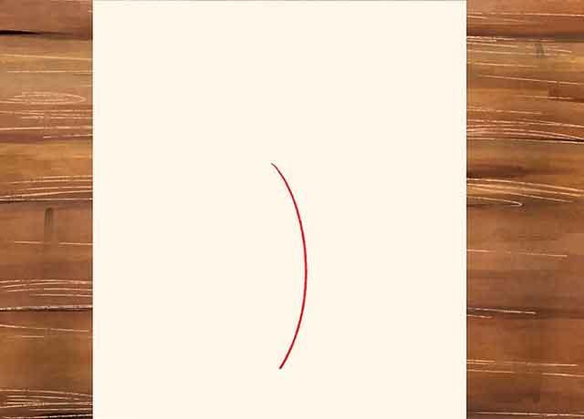 Как нарисовать розу со стеблем - в центре листа нарисуйте вертикальную кривую линию.