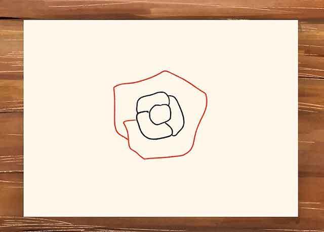 Как нарисовать розу поэтапно - Теперь добавьте первую спираль, чтобы обозначить второй ряд лепестков розы.