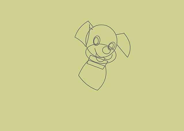 Как нарисовать мультяшного щенка - Далее квадрат с выпуклыми сторонами под прямоугольником.
