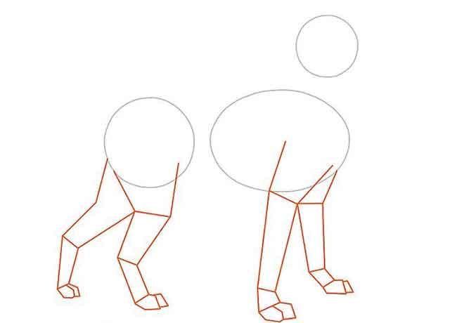 Как нарисовать мультяшную взрослую собаку - Нарисуйте ноги собаки, выходящие из овала и большего круга.