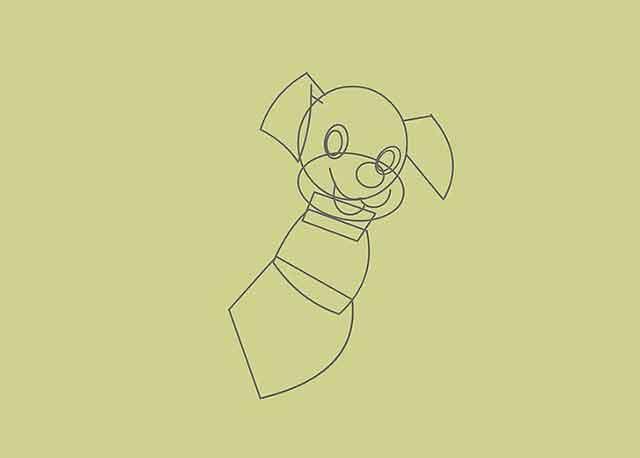Как нарисовать мультяшного щенка - Это будет контур животика щенка.