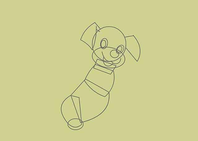 Как нарисовать мультяшного щенка - Этот маленький овал будет лапой задней ноги.