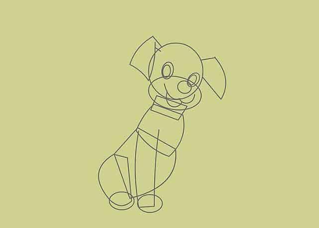 Как нарисовать мультяшного щенка - Это контур лапы на передней ноге.