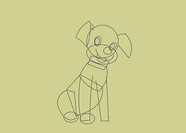 Как нарисовать мультяшного щенка - Нарисуйте еще 2 линии, идущие вниз от верхней части тела для другой передней ноги.