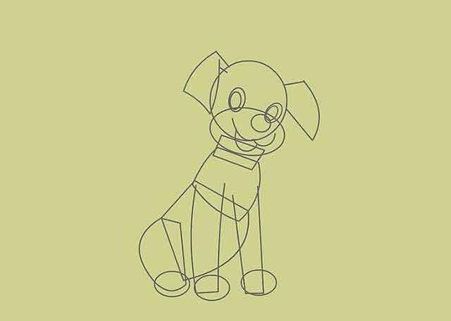 Как нарисовать мультяшного щенка - Это будет другая передняя лапа щенка.