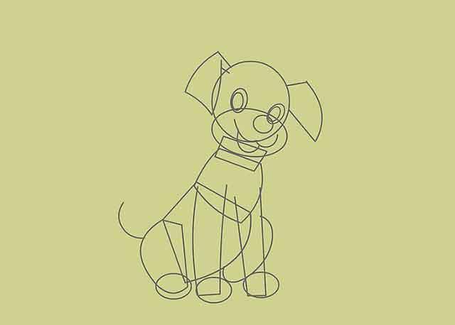 Как нарисовать мультяшного щенка - Это начало хвоста щенка.
