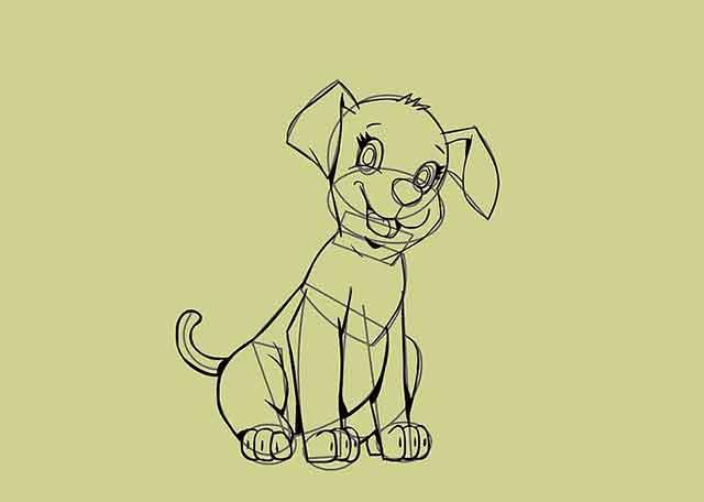 Как нарисовать мультяшного щенка - Добавьте больше мелких деталей