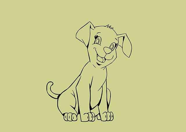 Как нарисовать мультяшного щенка - Сотрите все не нужные эскизы.